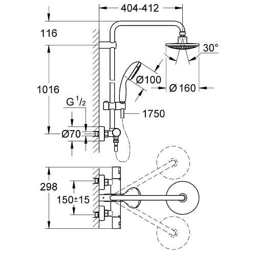 conjunto de ducha con termostato Grohe Vitalio - Start 160