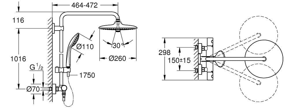 �� sistema de ducha Grohe Euphoria 260 (27296002) medidas